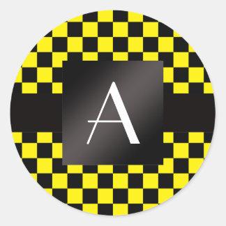 Inspectores amarillos y negros del monograma pegatina redonda