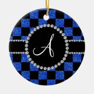 Inspectores azules negros del brillo del monograma adorno navideño redondo de cerámica