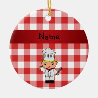 Inspectores blancos rojos personalizados del cocin adorno de navidad