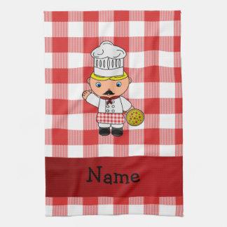 Inspectores blancos rojos personalizados del cocin toalla de mano