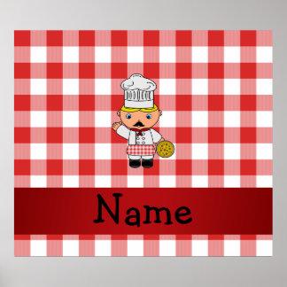 Inspectores blancos rojos personalizados del cocin póster