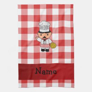 Inspectores blancos rojos personalizados del cocin toallas de mano