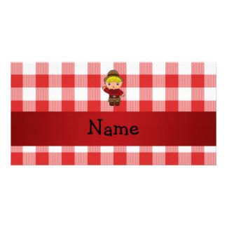 Inspectores blancos rojos personalizados del vaque tarjeta con foto personalizada