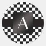 Inspectores blancos y negros del monograma etiquetas redondas
