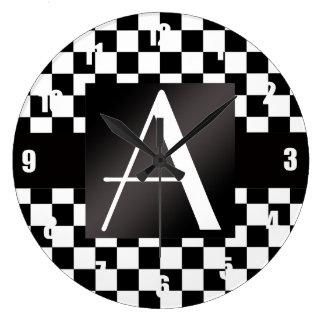 Inspectores blancos y negros del monograma reloj