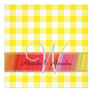 Inspectores de la guinga del amarillo del monogram invitación