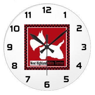 Inspectores de Westie Reloj Redondo Grande