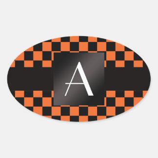 Inspectores del naranja y del negro del monograma pegatina ovaladas personalizadas