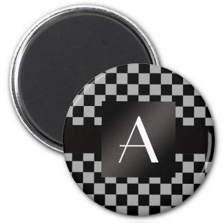 Inspectores grises y negros del monograma imán redondo 5 cm
