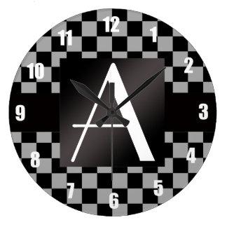 Inspectores grises y negros del monograma reloj