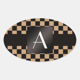 Inspectores marrones y negros del monograma calcomanías de ovales