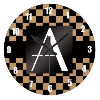 Inspectores marrones y negros del monograma reloj