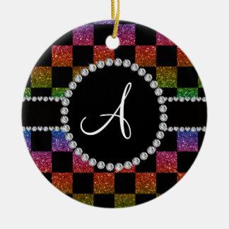 Inspectores negros del brillo del arco iris del adorno navideño redondo de cerámica