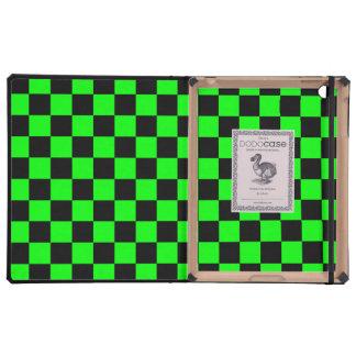 Inspectores negros en el fondo verde de neón iPad carcasas