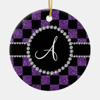 Inspectores púrpuras negros del brillo del adorno navideño redondo de cerámica