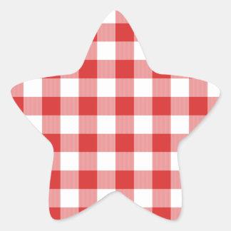 Inspectores rojos de la comida campestre pegatina en forma de estrella