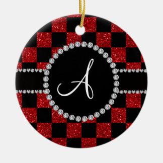 Inspectores rojos negros del brillo del monograma adorno navideño redondo de cerámica