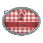 Inspectores rojos personalizados de la comida camp hebilla cinturón oval