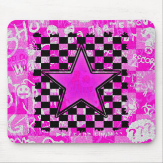 Inspectores rosados de la estrella de la pintada d tapete de ratón