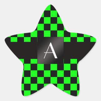 Inspectores verdes del monograma y negros de neón pegatina en forma de estrella