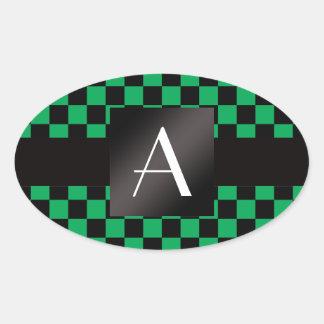 Inspectores verdes y negros del monograma pegatinas ovales