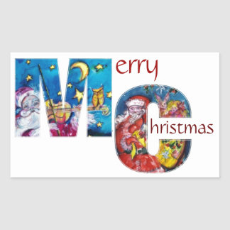 INSPIED SANTA  WITH CHRISTMAS GIFTS MONOGRAM RECTANGULAR STICKER