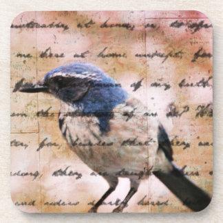 Inspiración azul del pájaro posavaso
