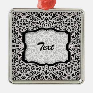 Inspiración barroca del estilo del ornamento adorno navideño cuadrado de metal
