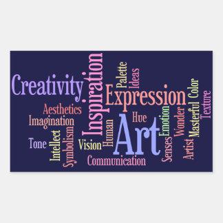Inspiración del arte - artista, persona creativa pegatina rectangular