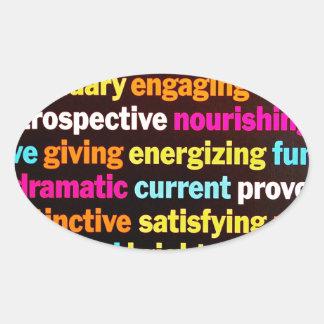 Inspiración y otras palabras pegatinas de óval personalizadas