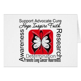 Inspiraciones de la mariposa del cáncer de pulmón tarjeta de felicitación