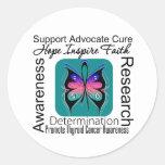 Inspiraciones de la mariposa del cáncer de tiroide etiqueta redonda