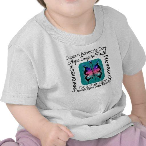Inspiraciones de la mariposa del cáncer de tiroide camisetas