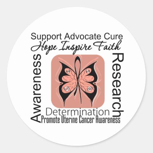 Inspiraciones uterinas de la mariposa del cáncer etiqueta redonda