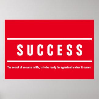 Inspirado de motivación del éxito blanco rojo póster
