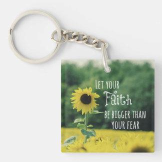 Inspirado: Deje su fe ser más grande que miedo Llavero Cuadrado Acrílico A Una Cara