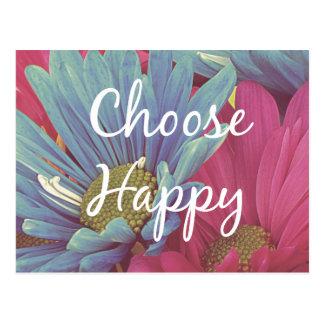 Inspirado elija la afirmación feliz de la cita postales