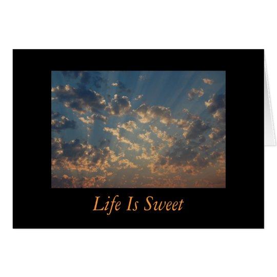 Inspirado - la vida es dulce tarjeta de felicitación
