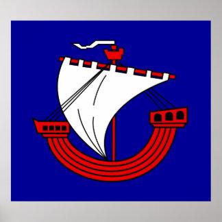 Inspirado por el buque del escudo de armas póster