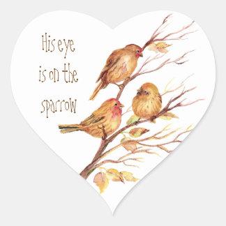 Inspirado su ojo está en el gorrión calcomania corazon personalizadas