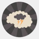 Inspirarse el cerebro retro con la nube de trueno pegatinas