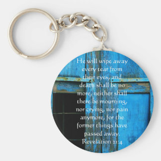 Inspiration and Strength Bible Verse Revelation 21 Basic Round Button Keychain