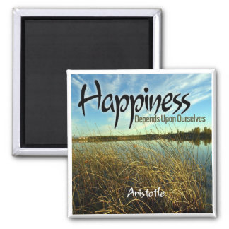 Inspiration -- Aristotle and Happiness 2 Inch Square Magnet