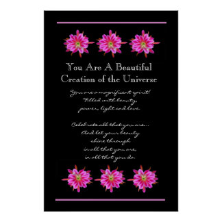 Inspiration Beautiful Pink Flowers Poster