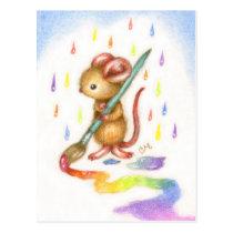 Inspiration - Cute Artist Mouse Postcard