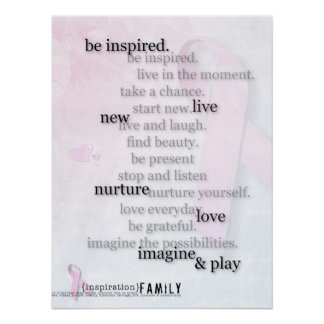 Inspiration Family Pink Ribbon poster