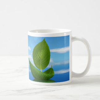 Inspiration from the nature : leaf boat classic white coffee mug