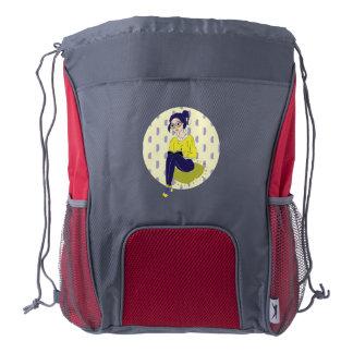 Inspiration Illustration: Reading and Writing Drawstring Backpack