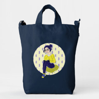 Inspiration Illustration: Reading and Writing Duck Canvas Bag
