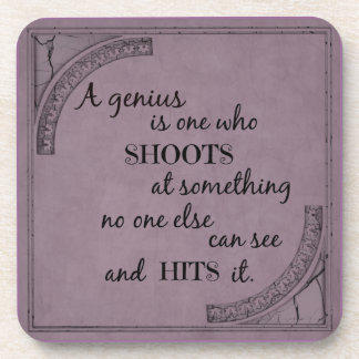 Inspiration motivational genius quotation coaster